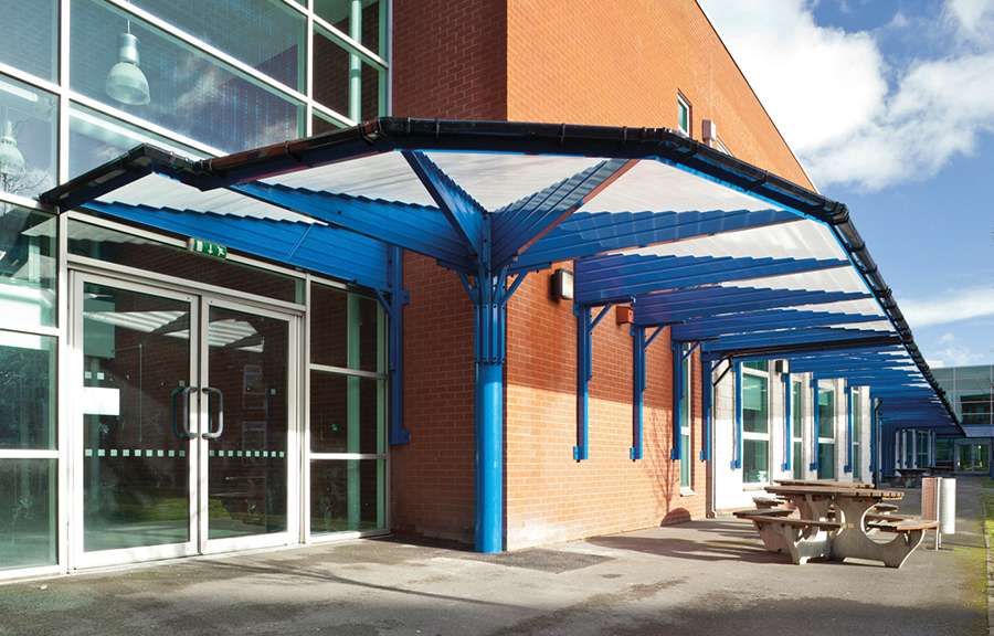 Canopy on the side of education building
